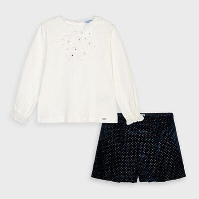 Комплект, Джемпер білий  + шорти, Темно-синій, Mayoral Іспанія, 21OZ