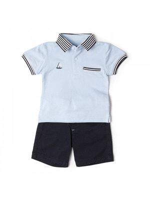 Комплект, Футболка POLO блакитна + шорти, Темно-синій, Babybol Іспанія, 19VL