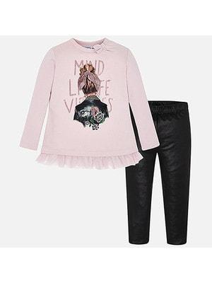 Комплект, Пуловер рожевий + легінси, Чорний, Mayoral Іспанія, 20OZ