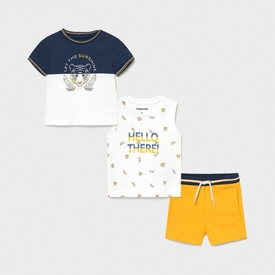 Комплект, Футболка + майка + жовті шорти, Білий, Mayoral Іспанія, 21VL