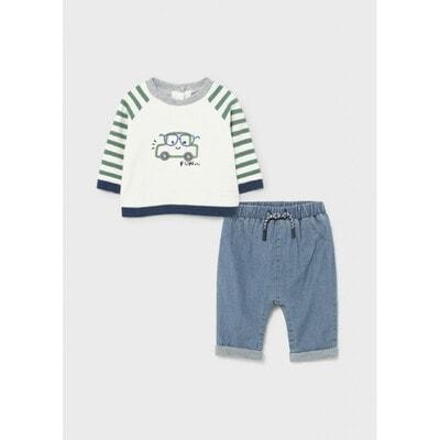 Комплект, Пуловер + сині штани, Білий, Mayoral Іспанія, 22OZ