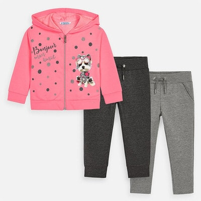 Комплект, Спортивний Кофта + штани 2 шт. (сірі, темно-сірі), Рожевий, Mayoral Іспанія, 20VL