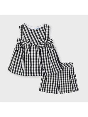 Комплект, Блуза + шорти в білу клітину, Чорний, Mayoral Іспанія, 21VL