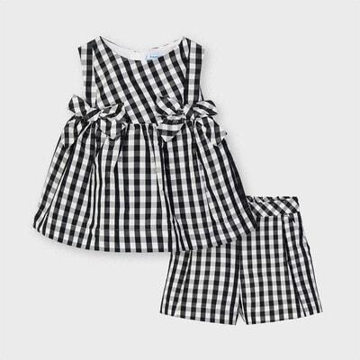 Комплект, Блуза + шорти (в білу клітину), Чорний, Mayoral Іспанія, 21VL