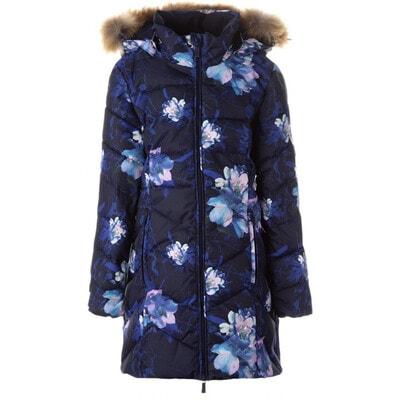 Куртка, в квітах, з капюшоном (натуральне хутро) PATRICE 2, Темно-синій, HUPPA Естонія, 21OZ