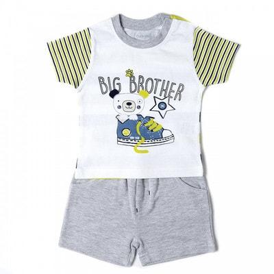 Комплект, Футболка біла  (Big Brother) + шорти, Сірий, Babybol Іспанія, 19VL