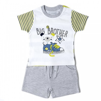 Комплект, Футболка белая (Big Brother) + шорты, Серый, Babybol Испания, 19VL