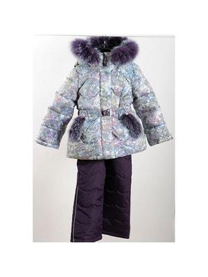 Комплект, Куртка з капюшоном (бульбашки) + фіолетові штани, Сірий, ТМ  K`ko, 20OZ