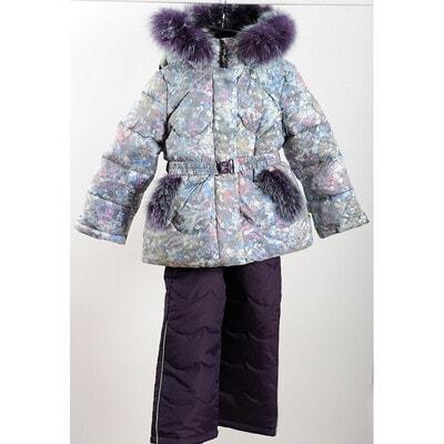 Комплект Куртка с капюшоном (пузырьки) + фиолетовые брюки, серый, ТМ K`ko, 20OZ