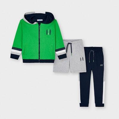 Комплект Спортивний, Кофта + сірі шорти + сині штани, Зелений, Mayoral Іспанія, 21VL