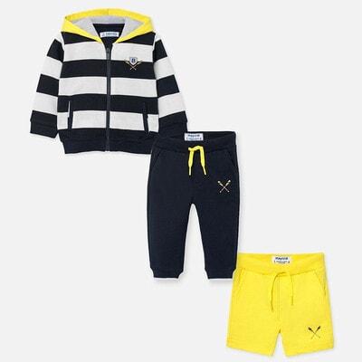 Комплект Спортивний, Кофта в смугу + жовті шорти + штани, Темно-синій, Mayoral Іспанія, 20VL