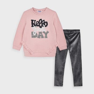 Комплект, Пуловер рожевий + легінси, Темно-сірий, Mayoral Іспанія, 21OZ