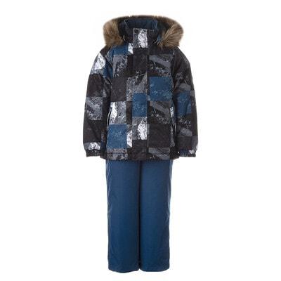 Комплект, Куртка (сірі, чорні квадрати) + напівкомбінезон WINTER, Cиній, HUPPA Естонія, 21OZ