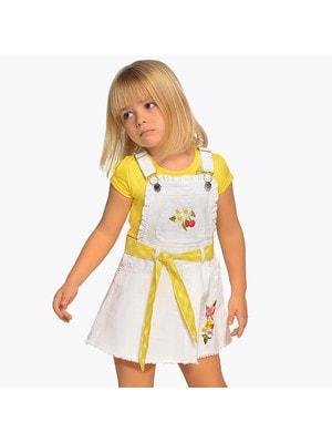 Сукня, Сарафан з жовтим поясом, Білий, Mayoral Іспанія, 19VL