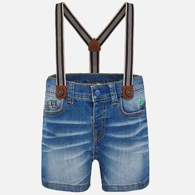Шорты, джинсовые свете + подтяжки, Синий, Mayoral Испания, 20VL