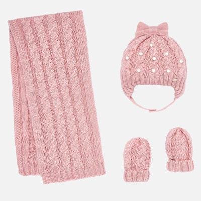 Головний убір Комплект, Шапка + шарф + рукавички (в'язаний), Рожевий, Mayoral Іспанія, 20OZ