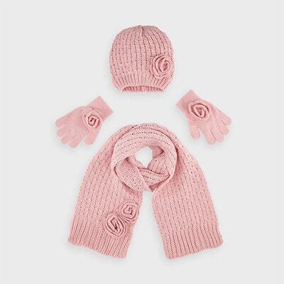 Головний убір Комплект, Шапка + шарф + рукавички, Рожевий, Mayoral Іспанія, 21OZ