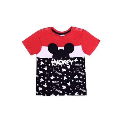 Футболка, сер. Mickey Mouse, чорна вставка з білими написами, Червоний, Disney Польща, 21OZ