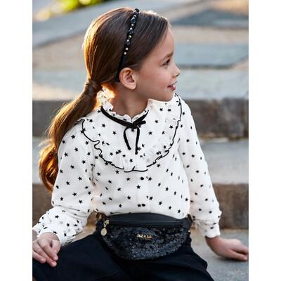 Блуза, довгий рукав, в чорних зірочках, Кремовий, Abel & lula Іспанія, 22OZ