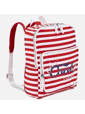 Рюкзак в белую полосу, Красный, Mayoral Испания, 19VL