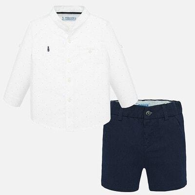 Комплект, Сорочка довгий рукав + сині шорти, Білий, Mayoral Іспанія, 20VL