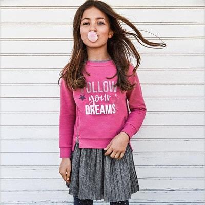 Комплект, Пуловер + срібляста сукня, Рожевий, Mayoral Іспанія, 21OZ