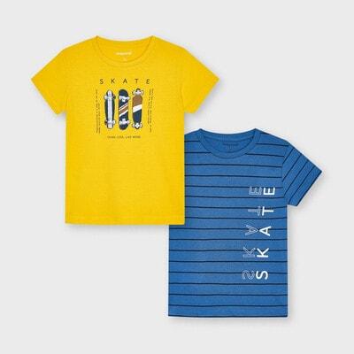 Комплект, Футболка 2 шт. Синій, Жовтий, Mayoral Іспанія, 21VL