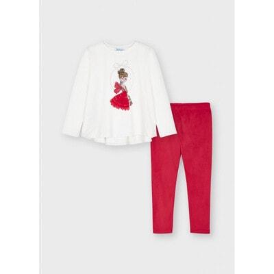 Комплект, Джемпер + легінси червоні, Білий, Mayoral Іспанія, 22OZ