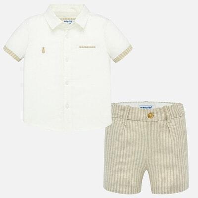 Комплект, Сорочка + бежеві шорти, Білий, Mayoral Іспанія, 20VL