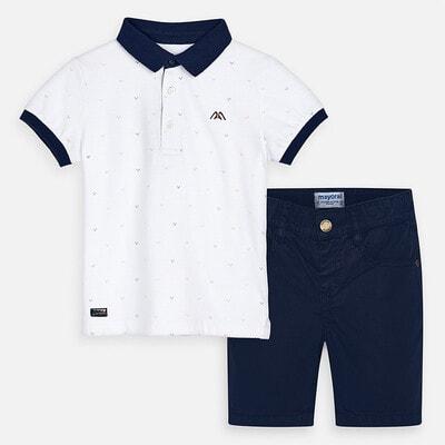 Комплект, Футболка POLO + сині шорти, Білий, Mayoral Іспанія, 20VL