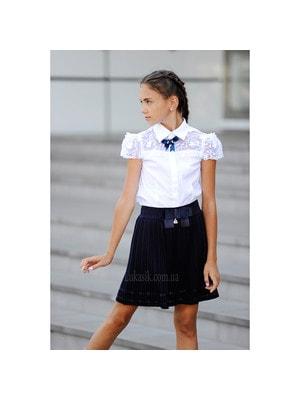 Шкільна форма, Блуза короткий рукав (зверху вишиті квіти), Білий, ТМ Colabear, 19Ошкола
