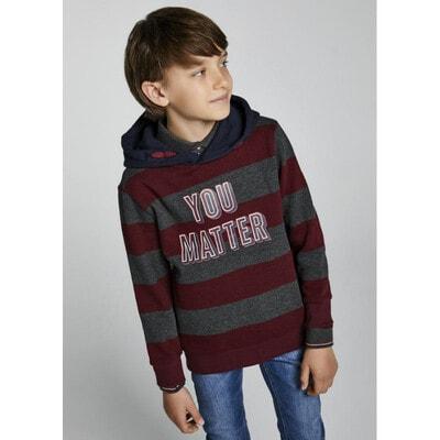 Пуловер, з капюшоном, в сіру смугу, утеплений, Бордовий, Mayoral Іспанія, 22OZ