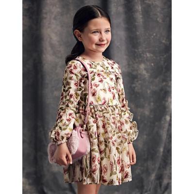Сукня, довгий рукав, в квітах, Бежевий, Abel & lula Іспанія, 22OZ