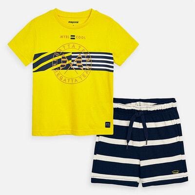 Комплект, Футболка + шорти сині в смугу, Жовтий, Mayoral Іспанія, 20VL