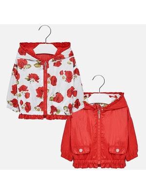 Куртка, двостороння, з капюшоном, в квітах, Червоний, Mayoral Іспанія, 19VL