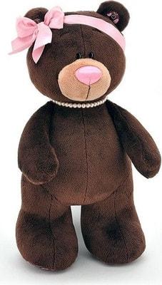 Іграшка М'яка, Ведмедик  Milk з намистом і рожевим бантиком 25см, ORANGE Китай