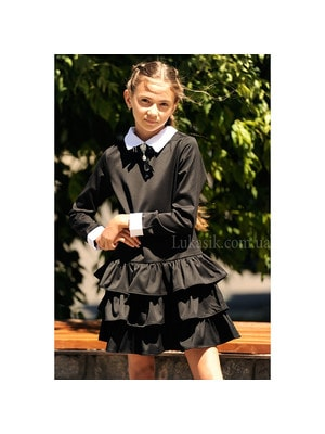 Шкільна форма, Сукня довгий рукав (білий манжет та комір), Чорний, ТМ Colabear, 19Ошкола