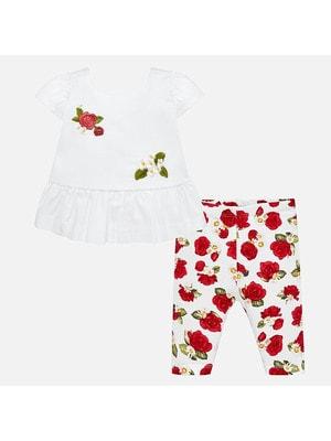 Комплект, Блуза + легінси в червоних квітах, Білий, Mayoral Іспанія, 19VL