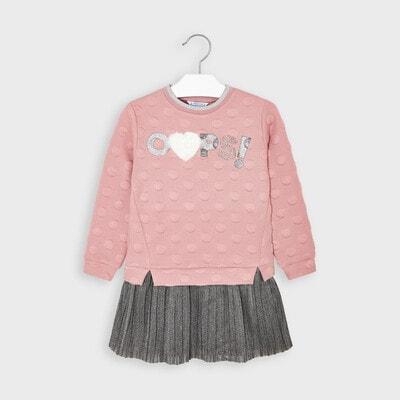 Сукня, довгий рукав, низ сріблястий, Рожевий, Mayoral Іспанія, 21OZ