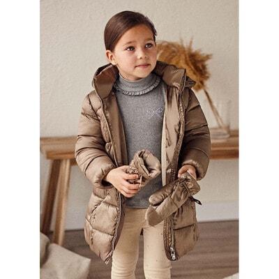 Куртка, з капюшоном, утеплена + рукавички, Коричневий, Mayoral Іспанія, 22OZ
