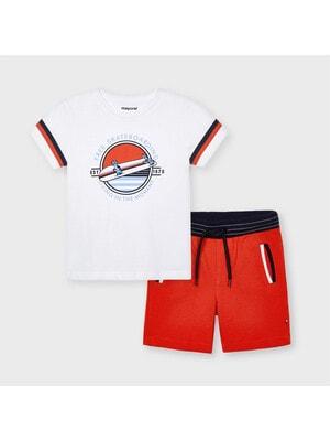 Комплект, Футболка + червоні шорти, Білий, Mayoral Іспанія, 21VL