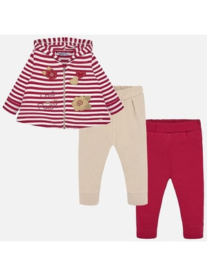 Комплект, Кофта в білу смугу + штани 2 шт. (1 - бежеві), Червоний, Mayoral Іспанія, 20OZ
