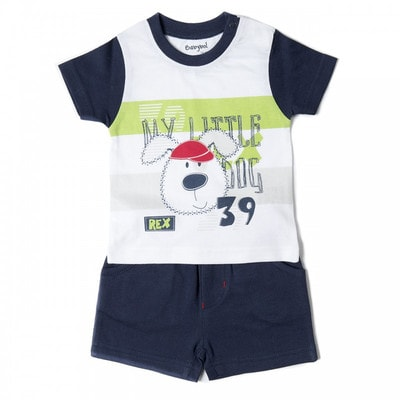 Комплект, Футболка біла (REX) + шорти, Темно-синій, Babybol Іспанія, 19VL