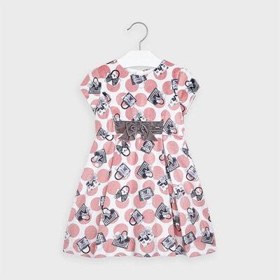 Сукня, в рожевий горошок, короткий рукав, Білий, Mayoral Іспанія, 21OZ