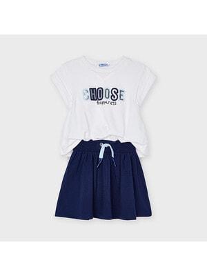 Сукня, верх білий, Темно-синій, Mayoral Іспанія, 21VL