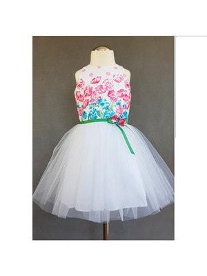 Сукня, зверху рожеві та сині квіти (брошка квіти), Білий, Daga Польща, 19VL