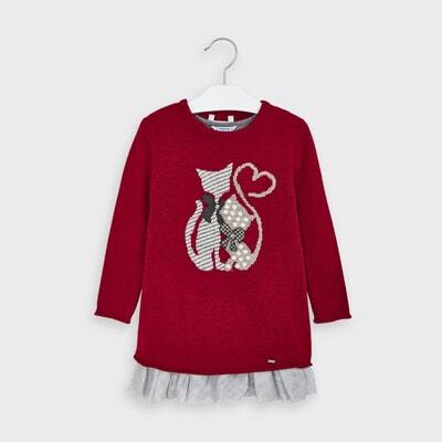 Сукня, + светр в'язаний, Червоний, Mayoral Іспанія, 21OZ