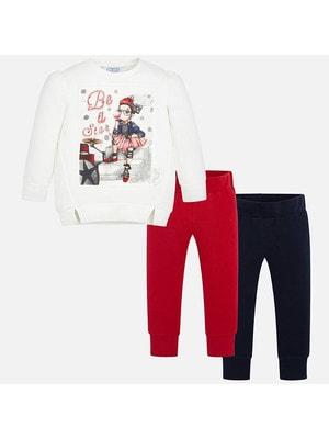 Комплект, Туніка біла  + штани 2 шт (1- сині), Червоний, Mayoral Іспанія, 20OZ