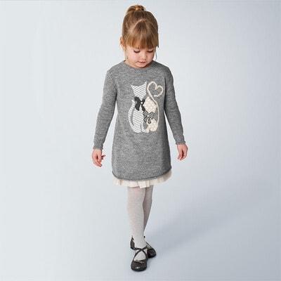 Сукня, + светр в'язаний, Сірий, Mayoral Іспанія, 21OZ