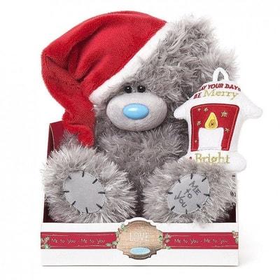 Іграшка М'яка, Ведмедик Тедді в новорічній шапці з ліхтариком, 23 см, Me To You Великобританія